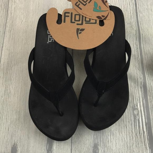 dd65aa1923c Flojos Flip Flops Olivia with heel Black Size 7